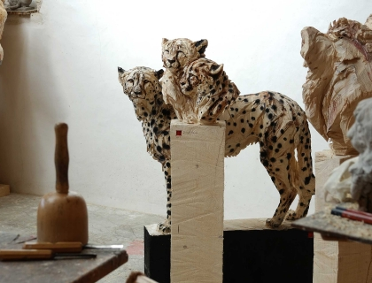 Duo Cheetah's, atelier - Jürgen Lingl-Rebetez - Leonhard's Gallery