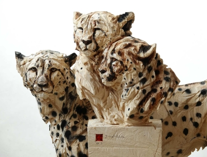 Duo Cheetah's, front detail - Jürgen Lingl-Rebetez - Leonhard's Gallery