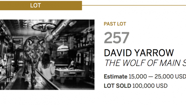 The Wolf Of Main Street - David Yarrow - Sotheby's - Leonhard's Gallery