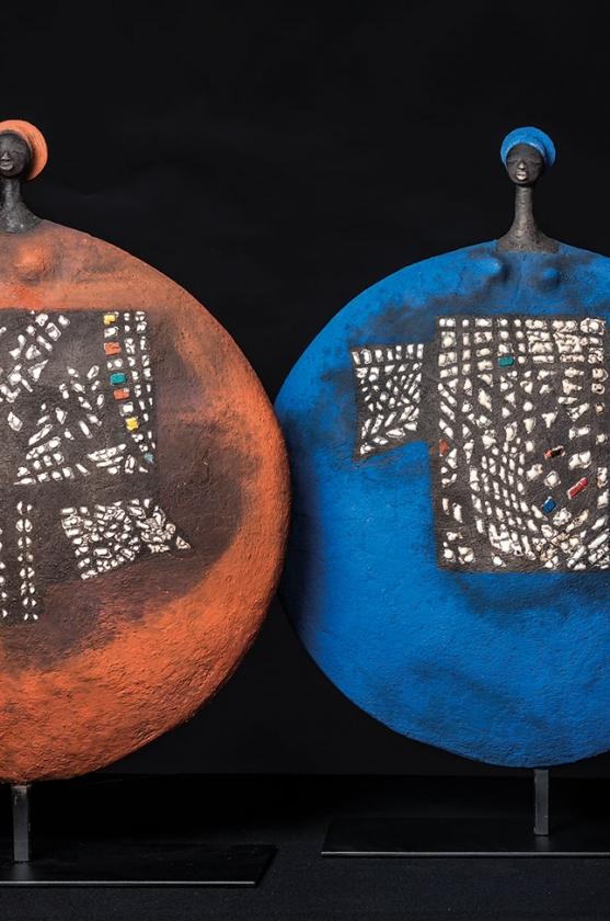 Cercle Rouge Tatoué & Cercle Bleu Tatoué - Etiyé Dimma Poulsen - Leonhard's Gallery